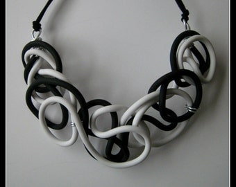 Black and White Rubber necklace-jewelry-jewelry-contemporary necklace-black and white-jewelry necklace BN