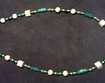 Green and White Bead Necklace