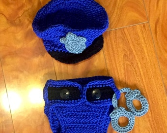 Crochet Baby Police Officer Costume Blue or Pink!