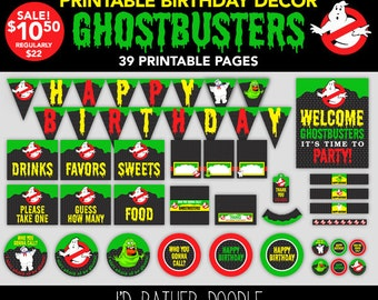 Ghostbusters Birthday Party - Ghostbusters Printable Party - Ghostbusters Birthday Decorations - DIY Ghostbusters Decor - Printable Decor