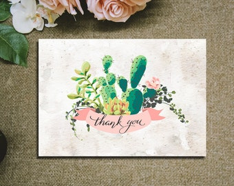 Printable Thank you card Cactus wreath Succulent Rustic Pink and Greenery floral Thank You Cards Printable digital files
