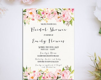 Watercolor floral bridal shower Printable Invitation, Bridal Shower Digital Files, Floral Bridal Shower, Bridal Shower DIY Wedding