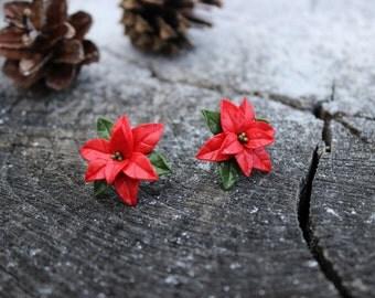 Christmas earrings, polymer clay studs earrings, Christmas flower earring for her, winter gift