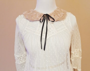 Beige Rosette Peter Pan Collar Detachable, Removable Vintage Inspired Collar, Neck Accessory