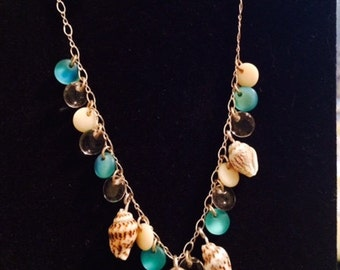 Glass and Seashell Silver Necklace & Earring Set