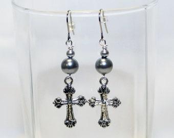 Cross Earrings - Silver Cross Charm Earrings - Beaded Cross Dangle Earrings