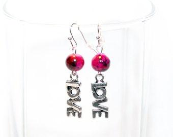 Silver Love Earrings - Pewter Charm Earrings - Love Earrings - Beaded Love Earrings - Valentine Jewelry
