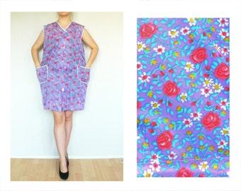 Floral Apron dress , blue green red, pockets