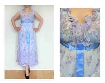Violet dress - floral dress, blue ribbon