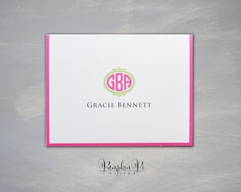 """Monogrammed Note Cards   4.25 x 5.5 """""""