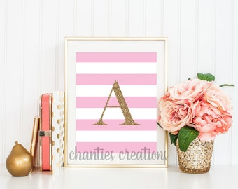 Initial Letter Name Personalized Custom Customized Printable Wall Art Home Decor Nursery Initial Printable Monogram Initial Pink and Gold