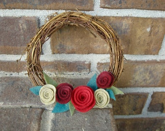 Small Holiday Grapevine Wreath with Felt Flowers