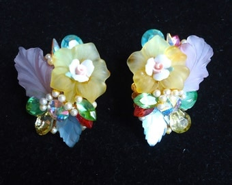 Beautiful Victorian Style Rivoli, Frosted Acrylic, China and Marquis Rhinestone Vintage Stud Back Earrings - Lovely and Unique