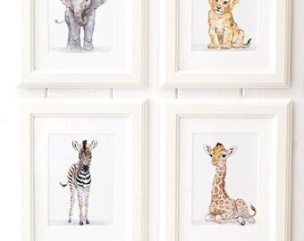 Safari Nursery Print set of 4, African Baby Animal Prints,Giclee, Baby Elephant, Giraffe, Lion, Zebra