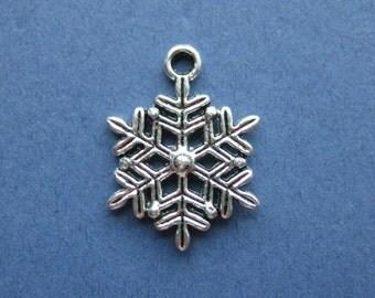 10 Snowflake Charms - Snowflake Pendants - Snowflake - Antique Silver - 22mm x 17mm -- (No.97-10226)