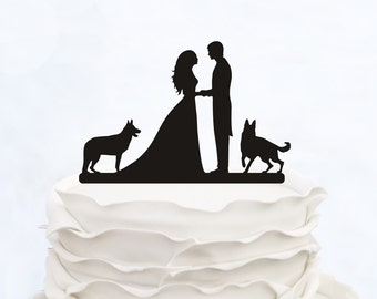 Wedding Cake Topper With two Dogs_Bride And Groom Couple Silhouette__Custom Cake Topper_funny cake topper_elegant cake topper