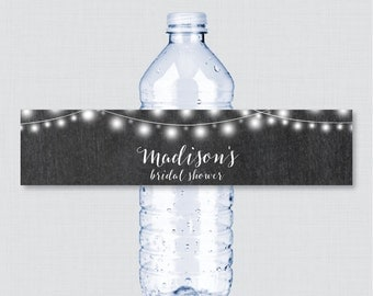 Chalkboard Bridal Shower Printable Water Bottle Labels - Rustic Chalkboard Bridal Shower Personalized Water Bottle Labels - 0005
