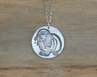 Bunny - Rabbit fine silver pendant