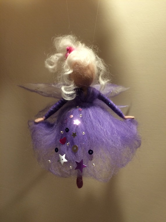 Needle Felted Fairy Waldorf Inspired Wool Angel In Purple