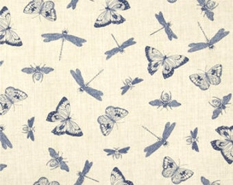 1 YD - Indigo Nature (Cream Insect) by Wilmington Prints