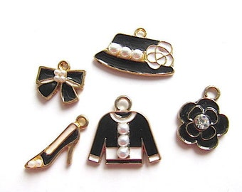 5 Charms Collection Black White Enamel Golden Tone Rhinestone Pendants Hat Bow Jacket Flower ...