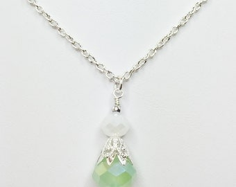 Mint Green Wedding Pendant Green Bridesmaid Gift Crystal Drop Necklace Pretty White and Green Opal Crystal Jewelry Mother of the Bride Gift