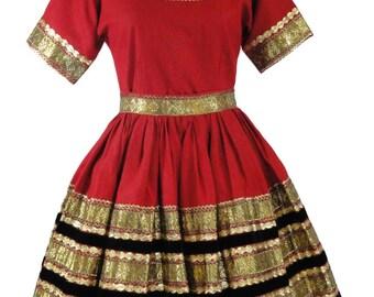 50s Patio Dress Squaw Dress Gold Rickrack Western Squaredance Amazing! 2 Pc. XS