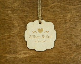 Custom Wooden Wedding Gift Tags Personalized Engraved Wedding Party Favor Rustic Gift Tags Natural Wood