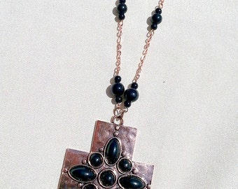Copper Cross Necklace with Black Beads ~ Hammered Copper Cross Necklace ~ Copper Crosses ~ Cross Necklaces