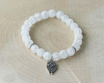 Bracelet for women semi-precious Gemstones - rock crystal cracked - charms OWL
