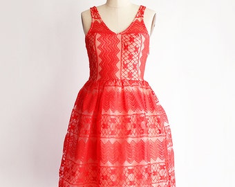 RIVER   Ruby - vintage inspired cherry red bridesmaid dress. poppy red lace bridesmaid dress with full gathered skirt. made in LA