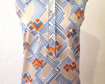 Vintage 70s Top | 70s Geometric Print Top | Sleeveless Women's Top | Vintage Top Medium M