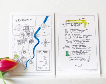 Custom made map - hand-drawn map for wedding invitations, parties and celebrations - made to order, bespoke