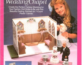 Fashion Doll Carry & Play WEDDING CHAPEL, Plastic canvas patterns for Barbie travel play set by Teresa S. Hannaway, Needlecraft Shop 933727.