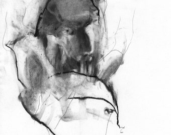 Figurative Charcoal Drawing 'Vicious' - Giclee Print -