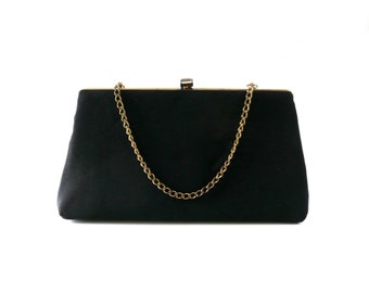 Black Vintage Evening Bag with Gold Chain Strap