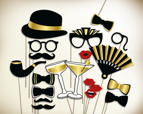 Gatsby photo booth props printable PDF. Great Gatsby props. Prohibition party supplies. Roaring 20s party photobooth: moustache, lips, hat.