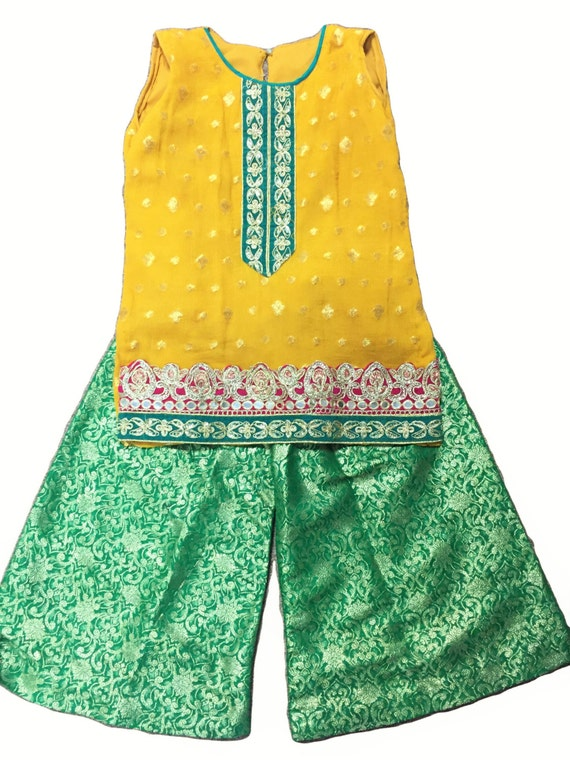 Yellow mehndi dress toddler size 2t 3t shirt with sharara for How to ship a wedding dress usps
