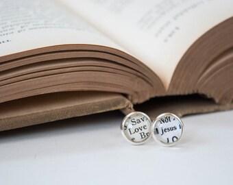 Love Jesus Earrings, Silver Stud Christian Earrings, Jesus Jewelry, Christian Gifts for Her, Catholic Jewelry, 602036