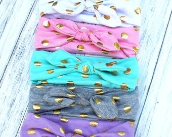 Toddler and Youth KNOT Headbands - GOLD Metallic Circles DOTS - Bunny Ear headbands - Gold Foil Turban Knotted Headbands - Top Knot Headwrap