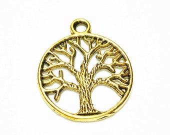 5 Tree of Life Charm Antique Gold Tone, 768