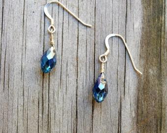 Blue Iridescent Crystal Tear Drop Earrings, Crystal Earrings, Dainty Crystal Earrings, Blue Earrings, Dainty Drop Earrings