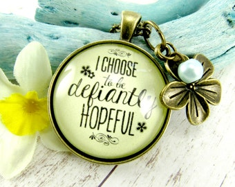 Hope Necklace Pendant 'I Choose Defiant Hope' Faith Inspired Never Give Up Jewelry Illness Infertility Survivor