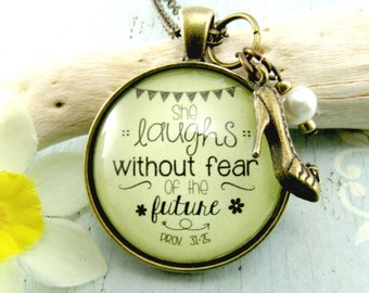 She Laughs Without Fear of the Future Proverbs 31 25 Scripture Necklace Christian Jewelry Encouragement Gift Encouragement Jewelry New Mom