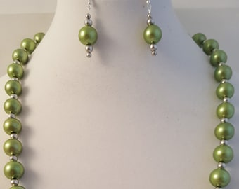 Green Pearl Necklace - Green Pearl Bracelet - Green Pearl Earrings - Green Pearl Jewelry Set - Pearl Jewelry Set - Green Pearl - Pearl Set