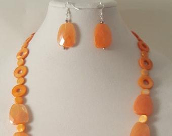 Orange Necklace - Long Orange Necklace - Orange Earrings  Sea Shell Necklace - Acrylic Necklace - Women's Orange Jewelry -Orange Jewelry Set