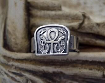 Egyptian Jewelry, Egyptian Ring, Ankh Ring, Key of Life, Key of Life Ring, Vintage Ring, Egyptian Jewelry, Tribal, Ethnic (R79