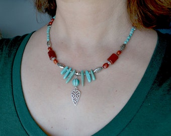 Turquoise Necklace with Red Jasper and Tribal Silver Charm, Tribal Gemstone Necklace (259)
