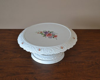 Vintage Ceramic Cake Stand With Flowers  Shabby Chic