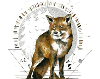 Fox in the Woods Print